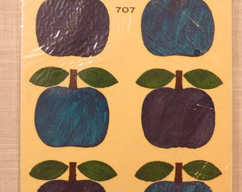 1960s Vintage Decal Transfers - Blue Apples by Eurodecal Meyercord Co