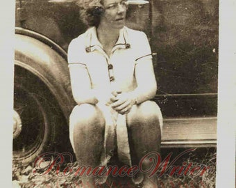 Doing a Little Thinking Vintage Photo of a Pretty Young Girl Sitting on the Running Board of a Car