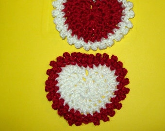 Glitter Heart Applique Crochet Valentine Heart  Your Choice Of Red Or White