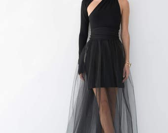 NEW Evening Gown / Prom Dress / Black Dress / Party Dress / Formal One Shoulder Dress / Tulle Dress / marcellamoda - MD860