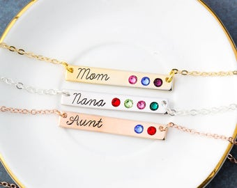 SALE • Mother's Day Necklace Mom Gift • Mommy Jewelry Aunt GIft from Children Nana Birthstone Necklace Crystal Birthstone Bar Necklace•BB_17