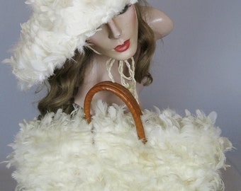 Rare Vintage 1950s Wide Brim White Feather Hat and Matching Purse with original Hat Box