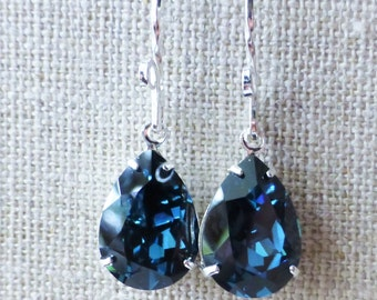 Navy Blue Swarovski Crystal Earrings, Dark Blue Rhinestone Pear Earrings, Sterling Silver Teardrops, Bridesmaid Gifts, Wedding, Gift for Her