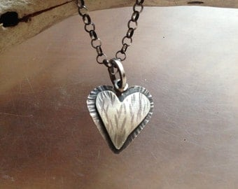 Heart necklace, Love, sterling silver
