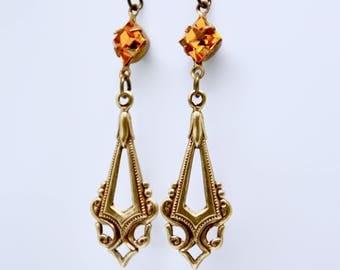 Golden Topaz Earrings, Swarovski Crystal Earrings, Art Deco Earrings, Yellow Rhinestone Earrings, Filigree, Victorian Bridesmaid Jewelry