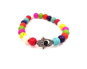 Rainbow Bracelet - Hamsa Bracelet - Mala Bracelet - Mala Prayer Beads - Meditation Bracelet - Meditation Beads - Hippie Bracelet - Buddha