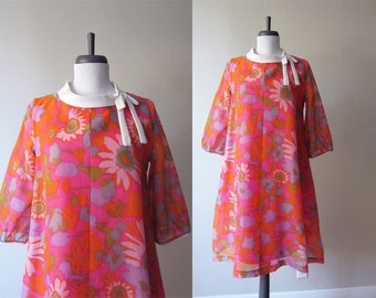Vintage 1960s Dress / Hot Pink and Orange Mod Flower Power Print Cotton Tent Dress / Size Large