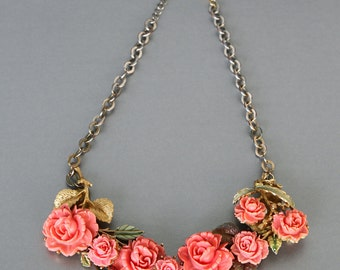 Everythings Coming up Roses, Vintage Carved Coral Statement Necklace