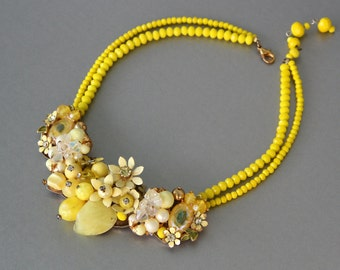 Let the Sunshine In! Statement Necklace Made from Vintage Rhinestone Earrings