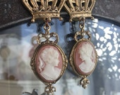 a pair of queens - vintage cameo assemblage earrings crown dangle drop gold toned victorian revival, the french circus