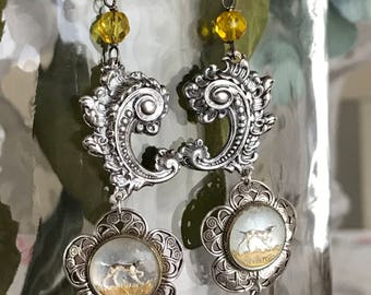 hounds - earrings vintage reverse painted intaglio glass dog buttons flower floral filigree yellow glass dangle drop, the french circus