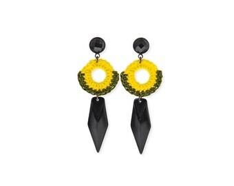 Yellow Spike earrings, boho black dagger earrings, edgy earrings, statement tribal jewelry