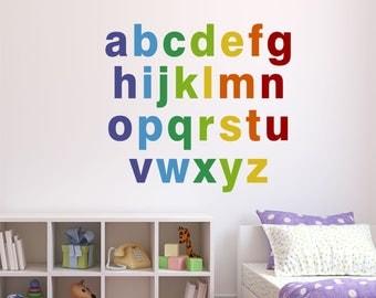 Alphabet Wall Decals, Reusable Alphabet Fabric Decals, Rainbow Alphabet  Wall Decals, Alphabet Fabric