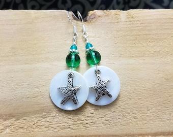 Starfish Shell Earrings, Silver Sea Green Starfish Sterling Silver Earrings, Green Starfish Shell Earrings, Starfish Sterling Earrings