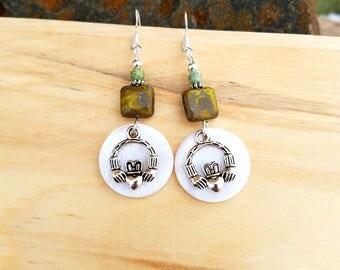 Claddagh Earrings, Shell Claddagh Green Sterling Silver Earrings, Irish Claddagh Sterling Earrings, Green Irish Earrings