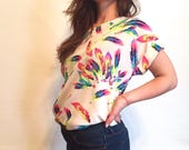 Vintage Neon Feathers Blouse // Early 1990s