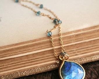 Labradorite Necklace, Blue Gemstone Necklace, Gemstone Jewelry