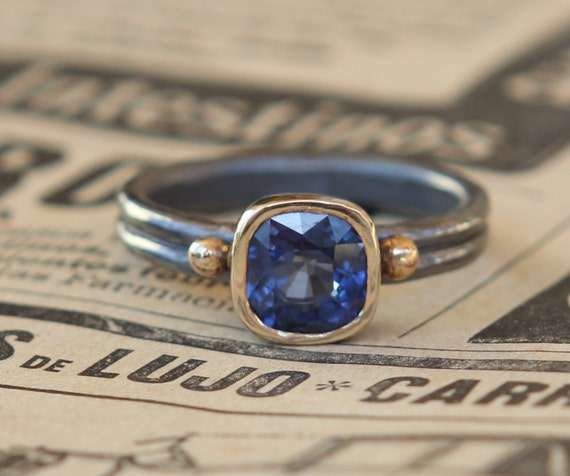 18k And Oxidized Sterling 2.40 Ct Cushion Cut Blue Sapphire Solitaire Alternate Engagement Statement Ring Sz 7.5