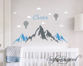 Wall Decals Personalized Name Mountains Hot Air Balloons Wall Decals Large Stickers Vinyl Decal Stickers Nursery Personalized Name