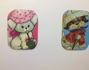 2x Magnets with upcycled scrap illustrations, cute dogs.