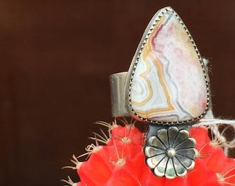 Jasper Ring, Sterling Silver Ring, Size 8 Ring, Native American Ring, Silversmith, Navajo Ring, Natural Stone Ring, Handmade Ring, BOHO Ring