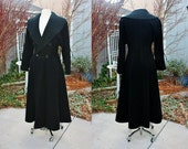 RESERVED 1970's Black Wool Blend Long Maxi Over Coat Fitted Size Medium Vintage Retro 70's England Textured Collar Winter Full Length