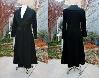 1970's Black Wool Blend Long Maxi Over Coat Fitted Size Medium Vintage Retro 70's England Textured Collar Winter Full Length Double Breasted