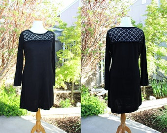 1990's Black Calvin Klein Dress Lace Yoke Size X-Large Vintage REtro 90's A-Line Acrylic Knit Classic