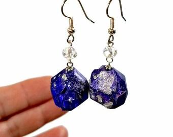 SALE! Faux Tanzanite Nugget Earrings,  Blue Dangle Earrings, Fun and Funky Jewelry, Rough Tanzanite