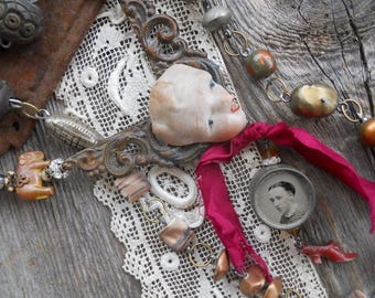Growing Pains          Antique Tintype Box Victorian Shoe Doll Mixed Media Assemblage  Necklace