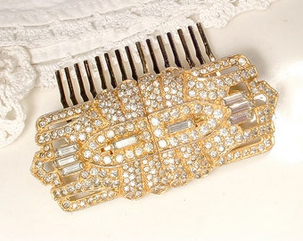 1930 Vintage Art Deco/Edwardian Gold Wedding Dress Sash Brooch OR Bridal Hair Comb, Paste Rhinestone Accessory/Hairpiece 1920 Antique Gatsby