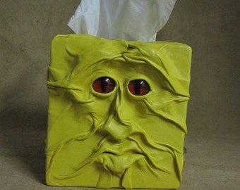 "Grichels leather tissue box cover - ""Slerpas"" 29488 - bright yellow with custom red slit pupil eyes"