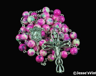 Catholic Rosary Beads Pink White Blue Green Rain Flower Stone Silver Traditional Five Decade Gift Idea Girl Womens Rosary