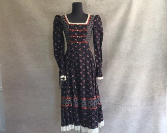 Vintage 80's Prairie Dress by GUNNE SAX, Navy Blue Floral, Lace Trim, Midi, Long Sleeve, Victorian, Prairie Style, Gypsy, Boho, XS