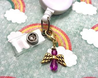 Badge Reel Holder ID Dangle Charm Beaded Zipper Pull Purse Keychain Crystal Angel Attachment Clasp Pink RN Nurse Technician Nicu CNA