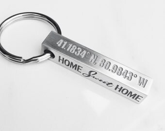 Personalized Coordinates Keychain . Latitude & Longitude Key Ring . Home Sweet Home. Gift for Boyfriend, Husband, Dad . Tatum Bradley
