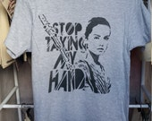 Rey Star Wars the Force Awakens t shirt tshirt stencil spray paint diy handmade street art feminist riot grrrl strong female charachter