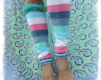 STRIPED Leg warmers YOGA Pastel Sweater leg Warmers Crochet Scalloped Festival accessories eco friendly Womens fashion leg wear GPyoga