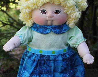 Blond Doll, Girl Doll, Textile Doll, Cloth Doll, Soft Sculpture Doll, Handmade Doll, Fabric Doll