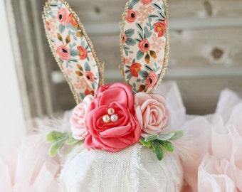 Flora  fabric and burlap springtime newborn bunny easter woodland ears crown halo floral headband prop