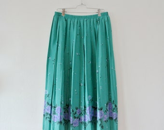 Vintage Teal Pleated Skirt with Purple Floral Print and Elastic Waist - Size Large 14 - Gift For Her