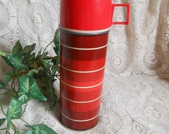 Red Striped Thermos Complete Vintage at Quilted Nest