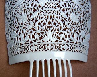 Oversized vintage Spanish mantilla comb white celluloid headdress headpiece hair accessory decorative comb