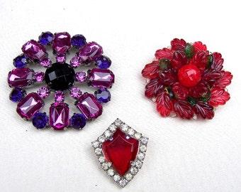 3 vintage brooches red purple theme vintage jewelry rhinestone brooch rhinestone pin Hollywood Regency Destash repurpose AS FOUND (AAP)