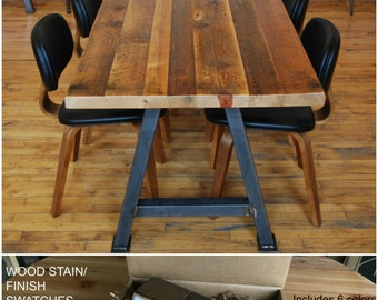 Barnwood Conference Table, Recycled Wood Table.  Buy a Finish/stain sample kit here to see them.  Custom orders turnaround 4-5 weeks.