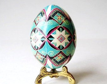 Turquoise Pysanka batik egg on chicken egg shell Ukrainian Easter egg hand painted egg gift for Wife on Mother's day grandmother birthday