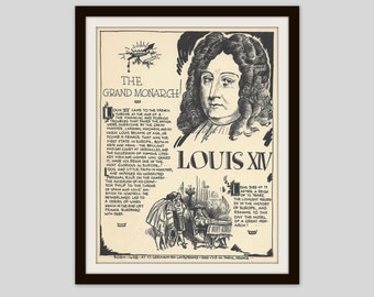 King Louis XIV, Vintage Art Print, Classroom Art, History Teacher Gift, History Lovers Gift, French History, Monarchy, Royalty, France