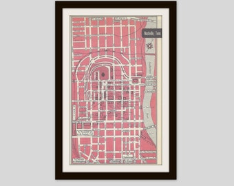 Nashville Tennessee Map, City Map, Street Map, 1950s, 2 Sided, Newark New Jersey Map, Black and White, Pink