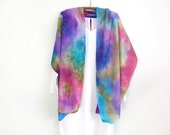 A Shawl, A scarf , Pure Silk, Hand-Painted Pinks, Violet, Jewel Tones, One of A Kind