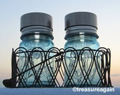 Solar Patio Jar Basket Lights 2 Beach Blue Ball Pint Mason Jar Solar Lights and Metal Basket, Patio Decor Outdoor Garden Lights